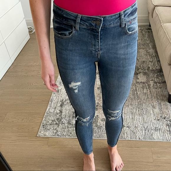 Zara blue jeans with black bead embellishment